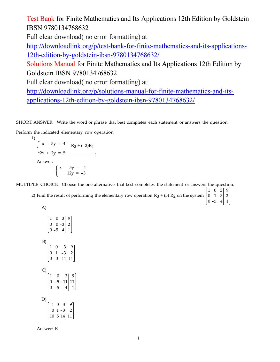 Test Bank For Finite Mathematics And Its Applications 12th