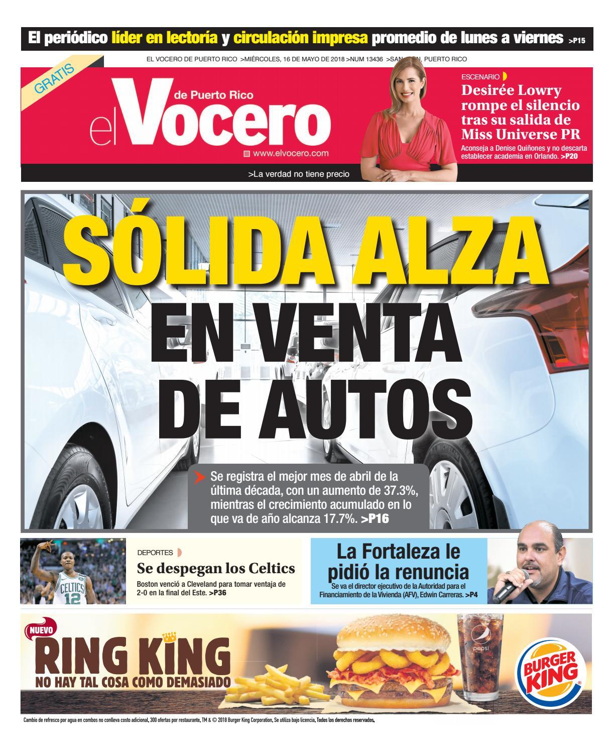 Edición del 16 de mayo de 2018 by El Vocero de Puerto Rico - issuu ee9c008dd49