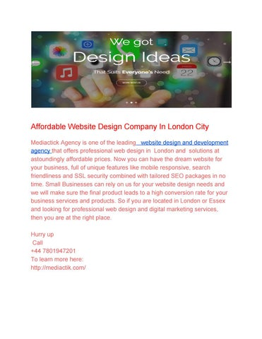 Affordable Website Design Company In London City By Mediactik Issuu