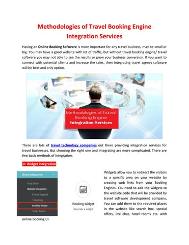 Methodologies of travel booking engine integration services