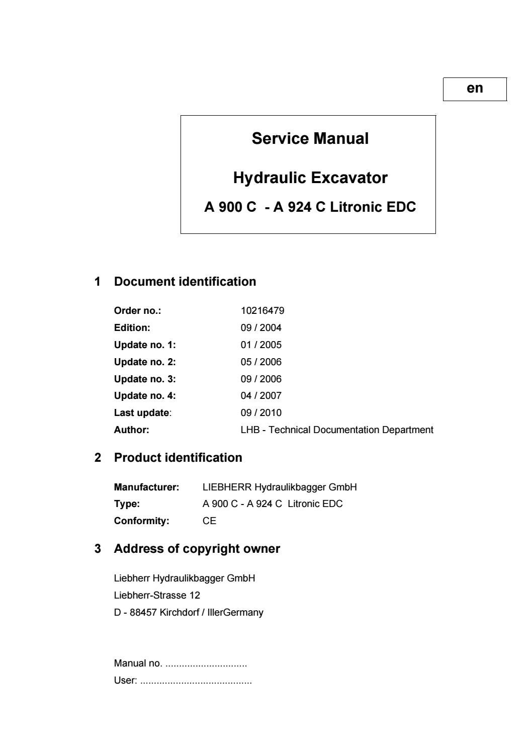 Liebherr A 904 C Litronic Edc Hydraulic Excavator Service Repair Key Switch Wiring Diagram Manual Sn30580 And Up By 163757 Issuu