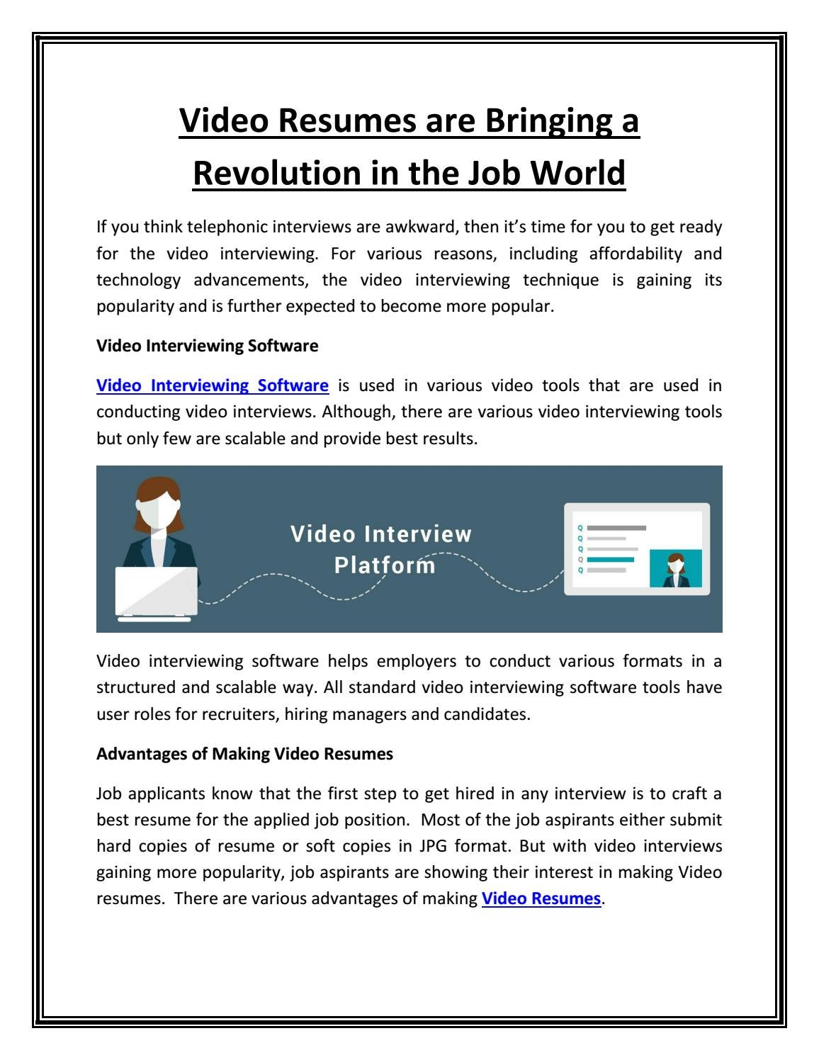 Video Resumes Are Bringing A Revolution In The Job World By