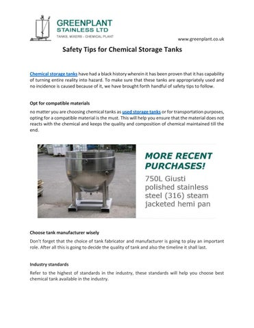 Safety tips for chemical storage tanks by Greenplant
