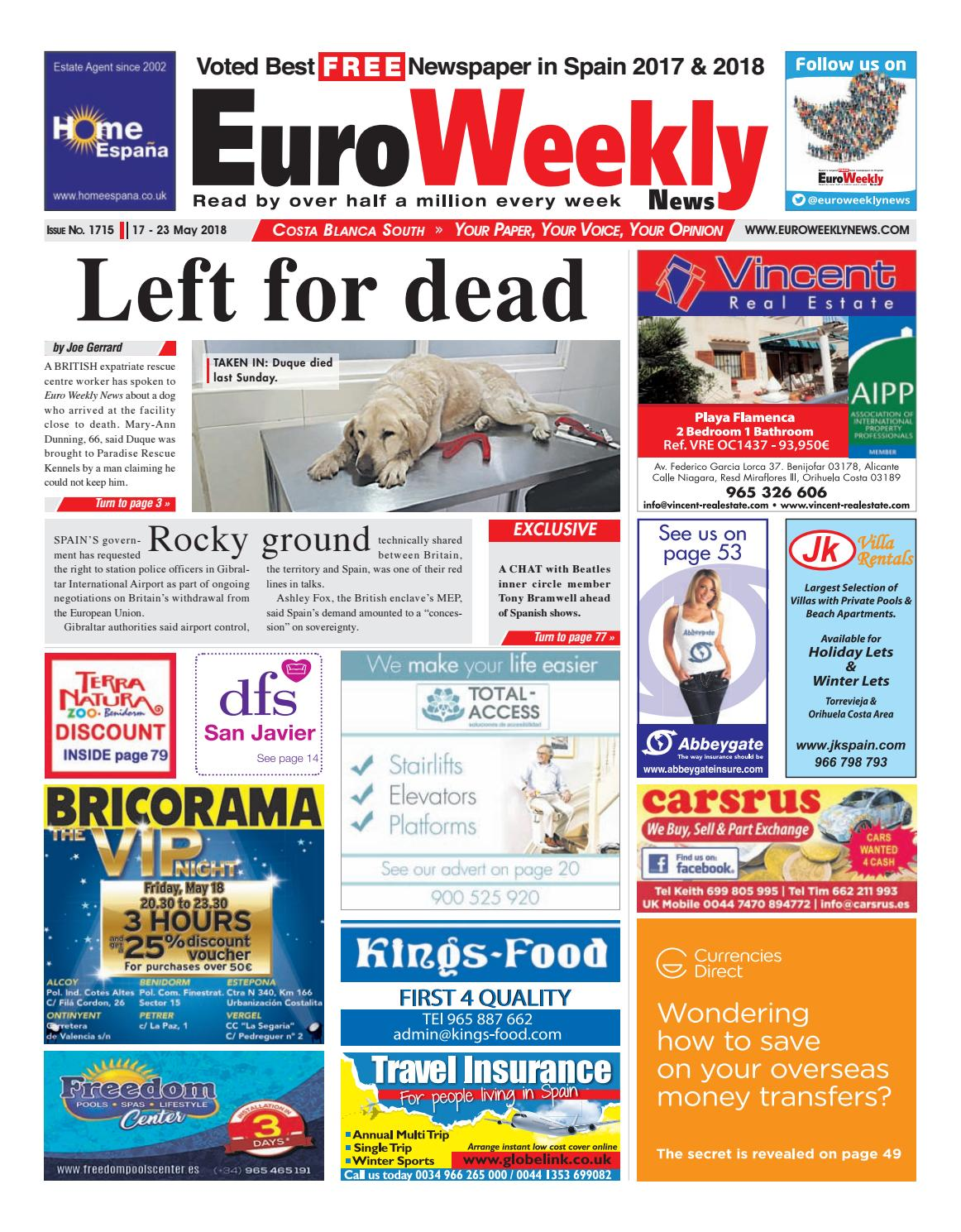 Euro weekly news costa blanca south 17 23 may 2018 issue 1715 by euro weekly news costa blanca south 17 23 may 2018 issue 1715 by euro weekly news media sa issuu fandeluxe Image collections