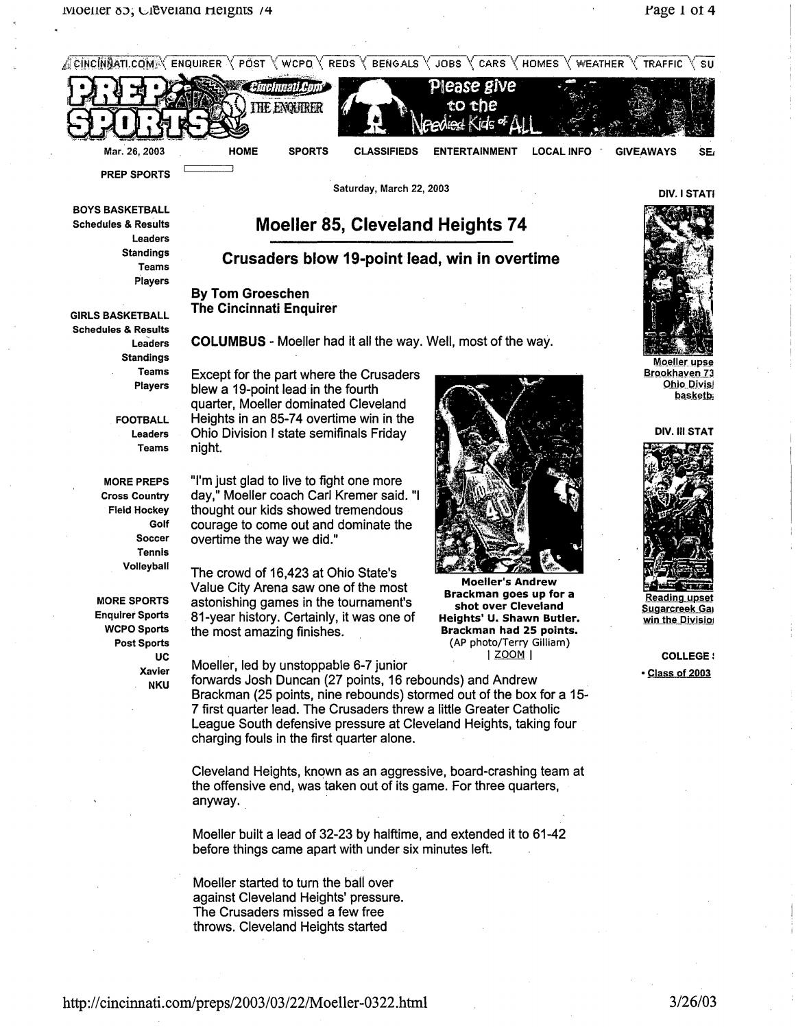wholesale dealer 09b44 5bf6b Moeller High School 2002-03 Basketball Articles by Archbishop Moeller High  School - issuu