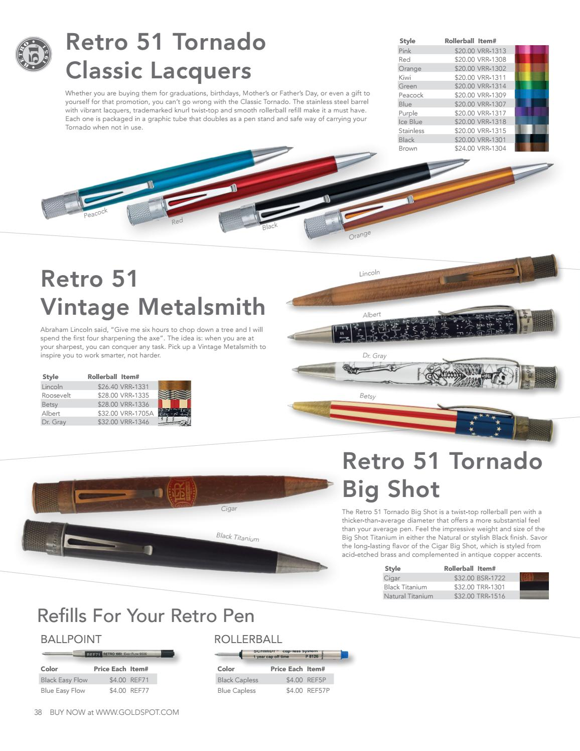Vintage Metalsmith NEW VRR-1705A Retro 51 Tornado Albert Rollerball Pen