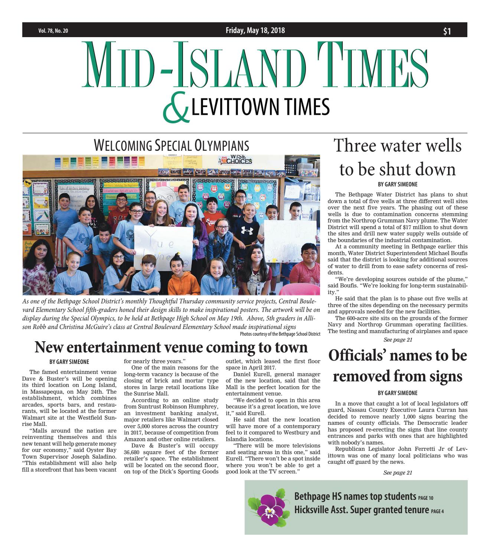 Mid Island Times Levittown News 5 18 18 By Litmor Publishing Issuu