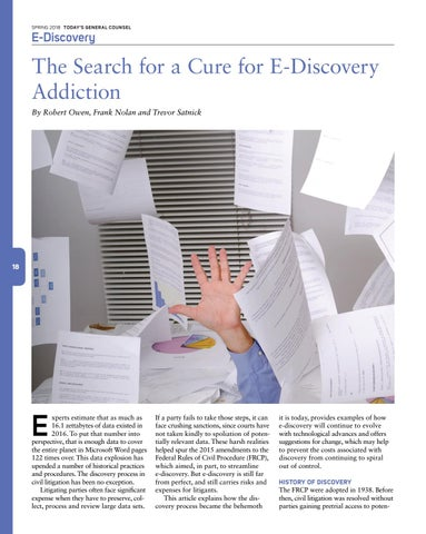 Page 20 of The Search for a Cure for E-Discovery Addiction