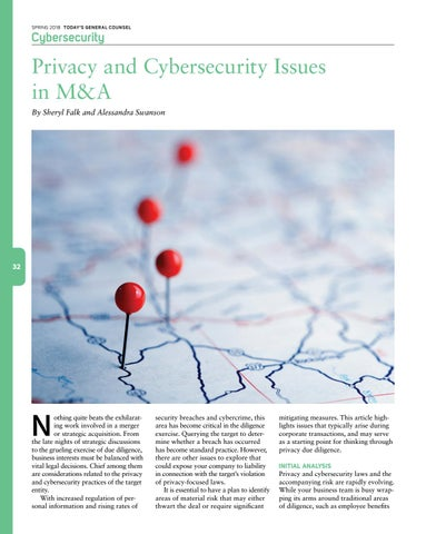 Page 34 of Privacy and Cybersecurity Issues in M&A