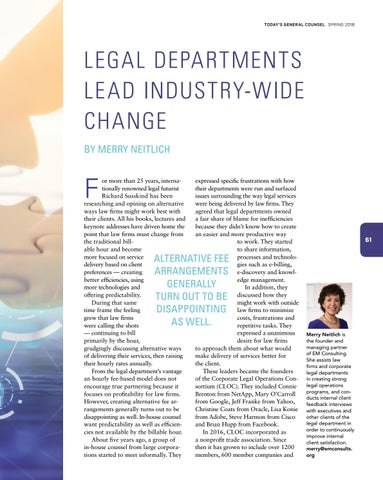 Page 63 of Legal Departments Lead Industry-Wide Change