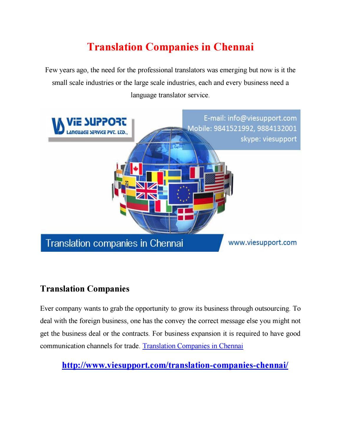 Translation Companies In Chennai By Ravikumar9413 Issuu