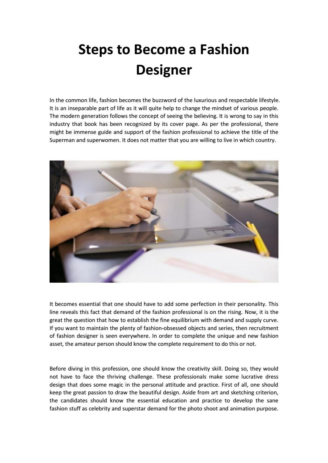 Steps To Become A Fashion Designer By Lisaadelhifashion Issuu