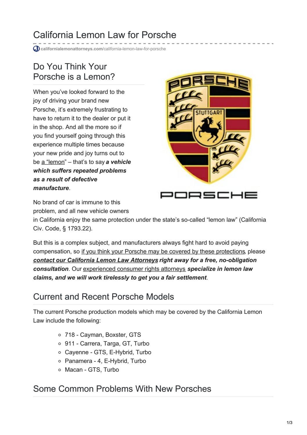 California Lemon Law >> California Lemon Law For Porsche By California Lemon Attorneys Issuu