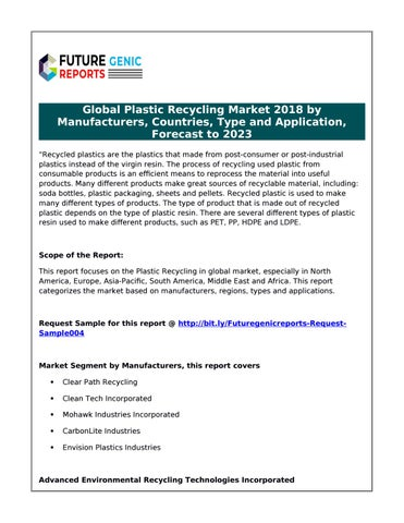 Plastic Recycling Global Market to Observe Strong