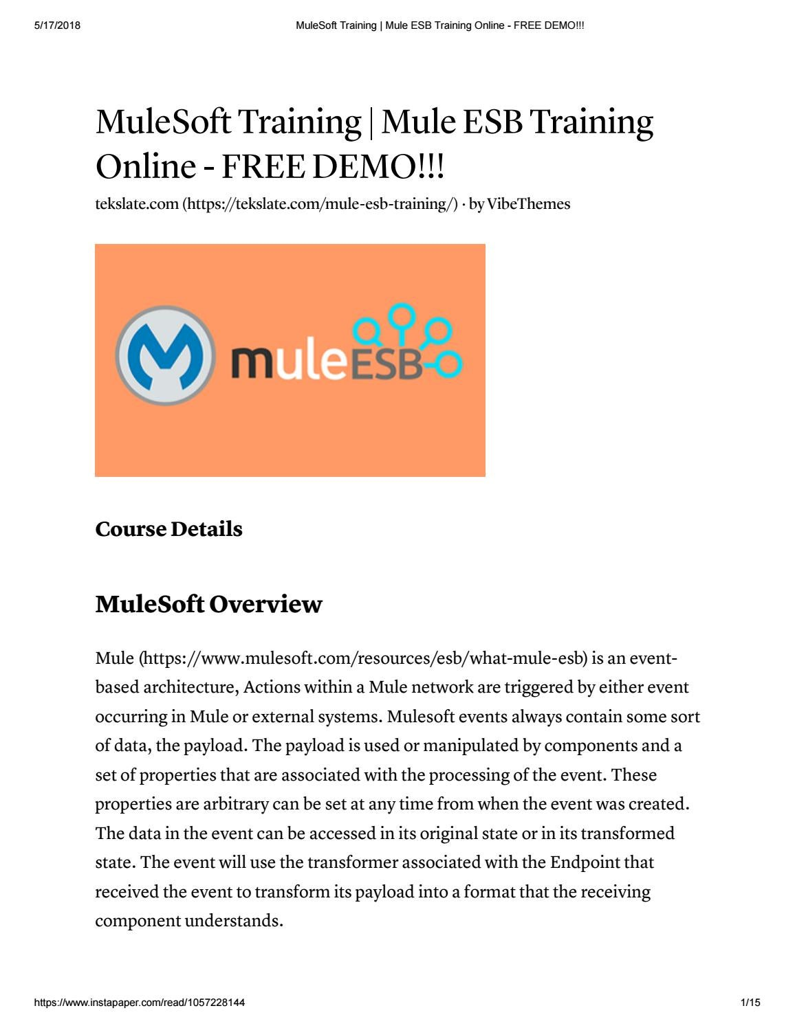 mulesoft training mule esb training online free demo!!! by katherine