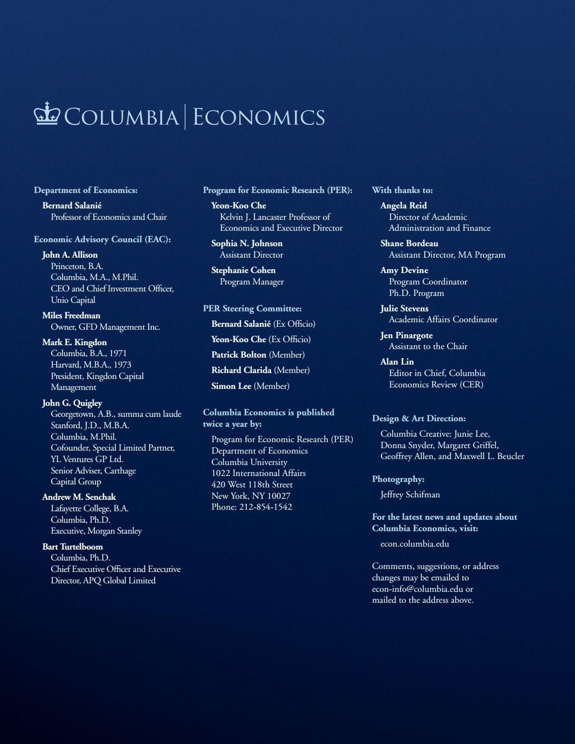 Columbia | Economics Magazine, Spring 2018 by