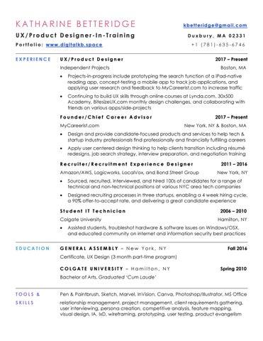 Kbetteridge Resume Ux Design 5 0 By Kbetteridge Issuu