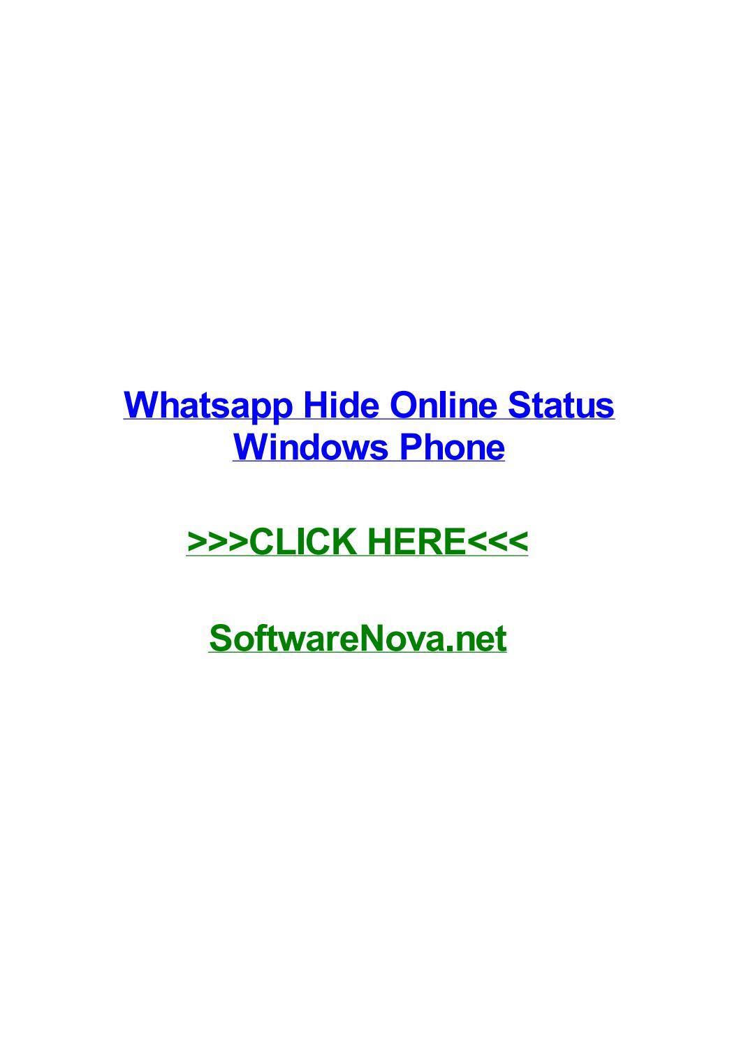 Whatsapp Hide Online Status Windows Phone By Mikeztkuu Issuu
