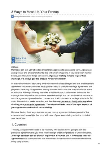 3 Ways To Mess Up Your Prenup By Wall Wall Attorneys At Law Pc Issuu