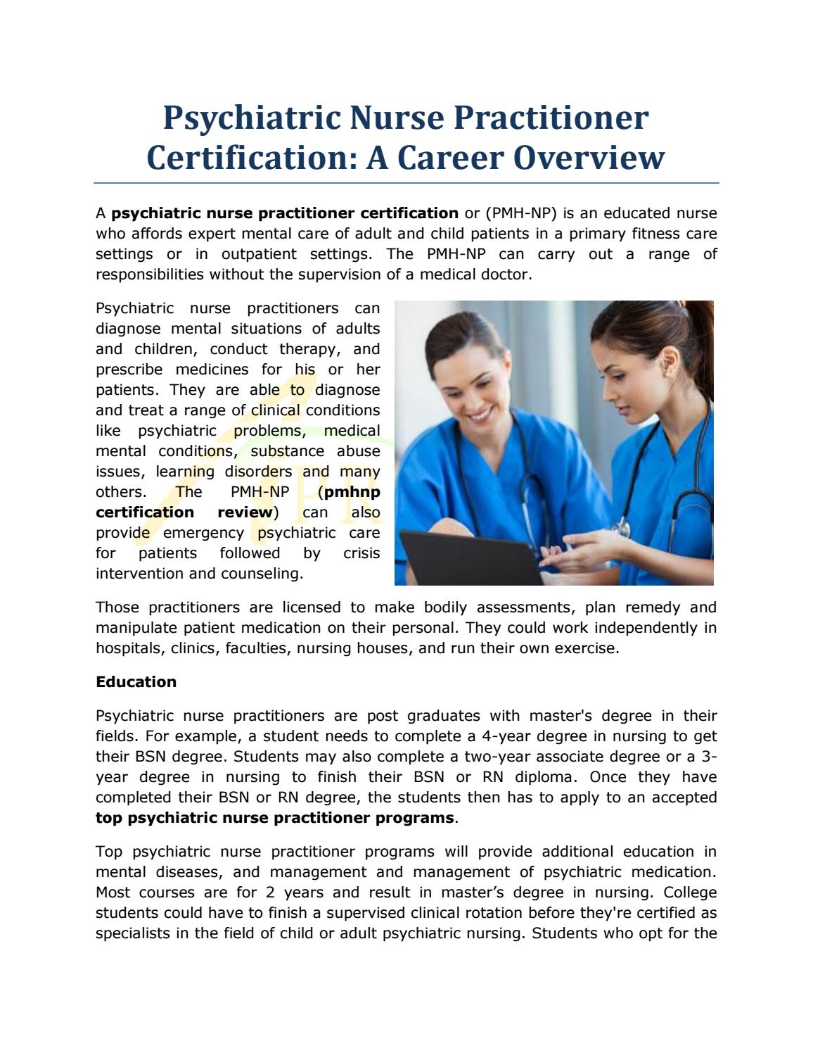 Psychiatric Nurse Practitioner Certification A Career Overview By