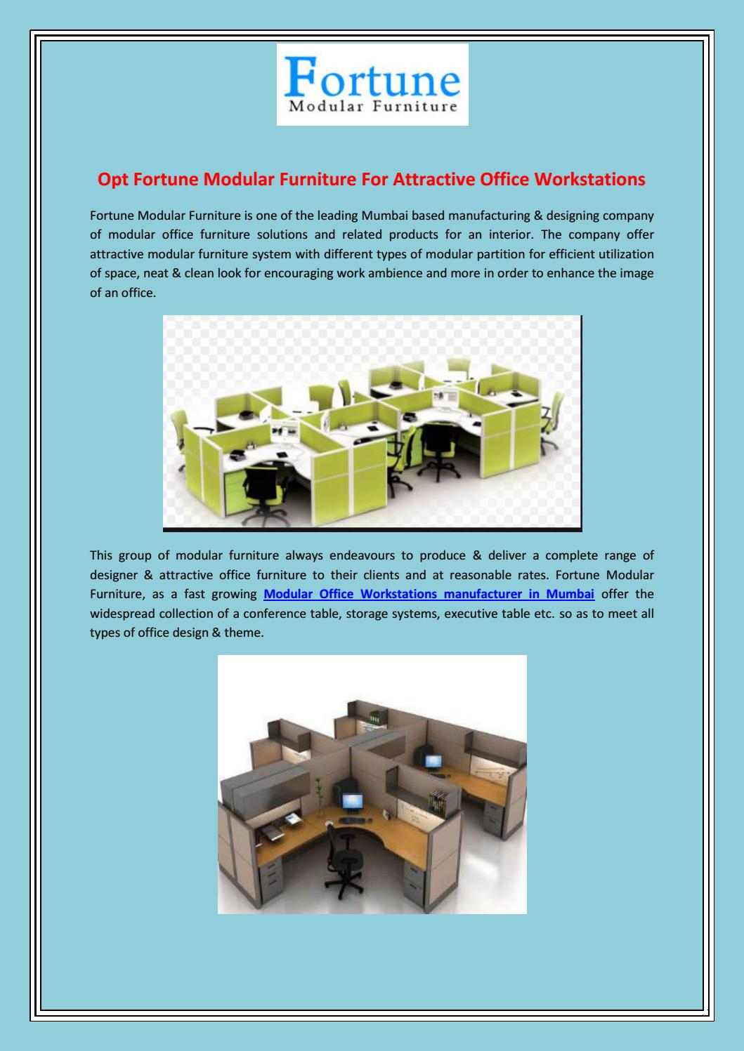 Opt Fortune Modular Furniture For Attractive Office Workstations By Fortunemodularfurniture Issuu
