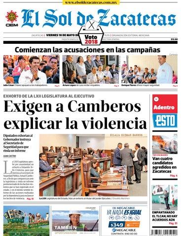 ca86313ce6 El Sol de Zacatecas 18 de mayo 2018 by El Sol de Zacatecas - issuu