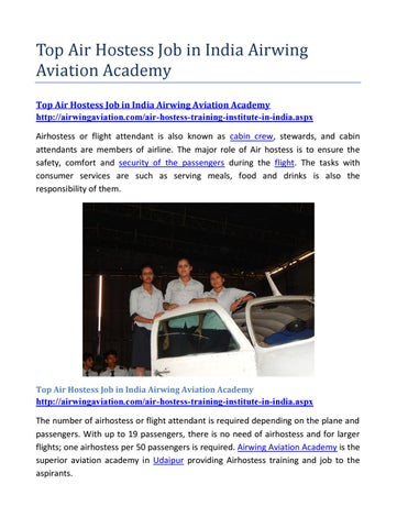 Top air hostess job in india airwing aviation academy by