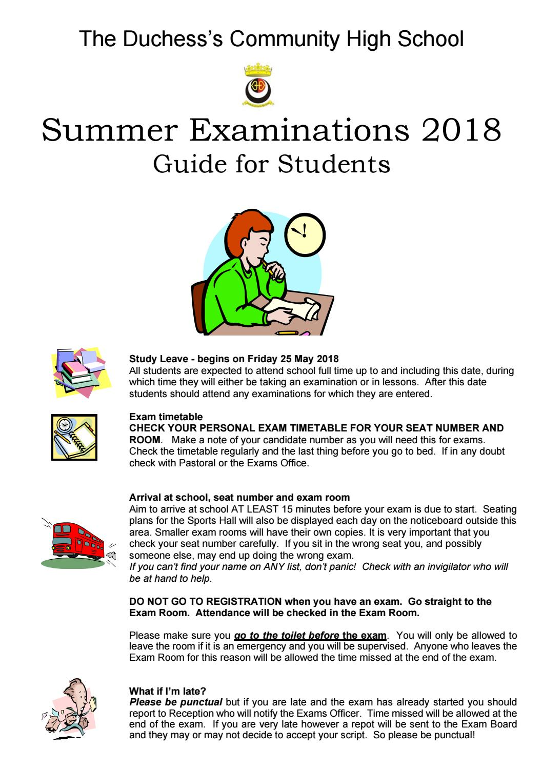 Exam Guide for Students Summer 2018 by James Clark - issuu