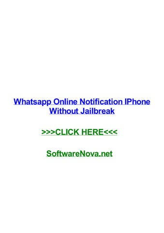 Whatsapp online notification iphone without jailbreak by kristenuvhy