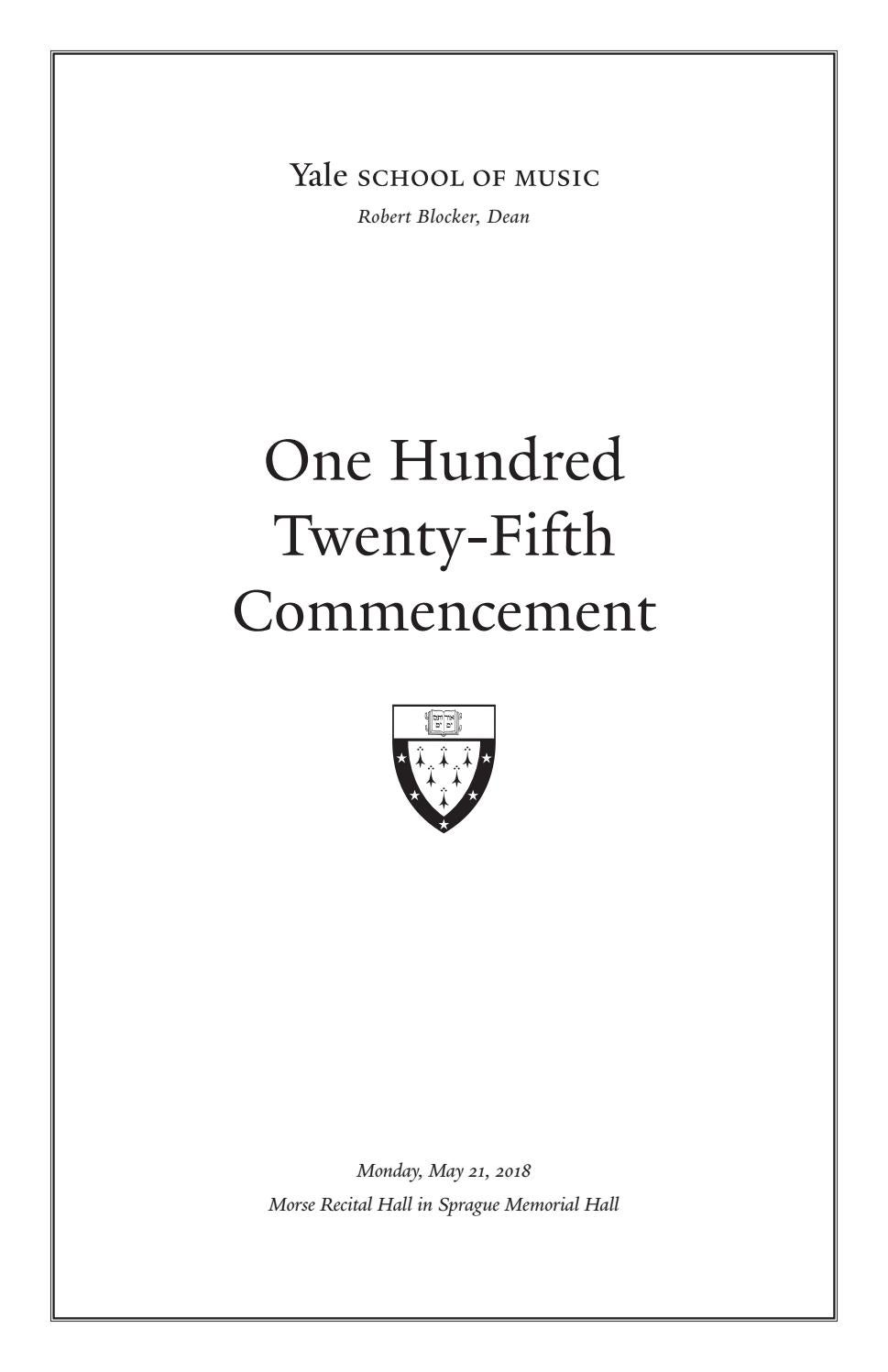 YSM Commencement Ceremony 2018 by Yale School of Music - issuu