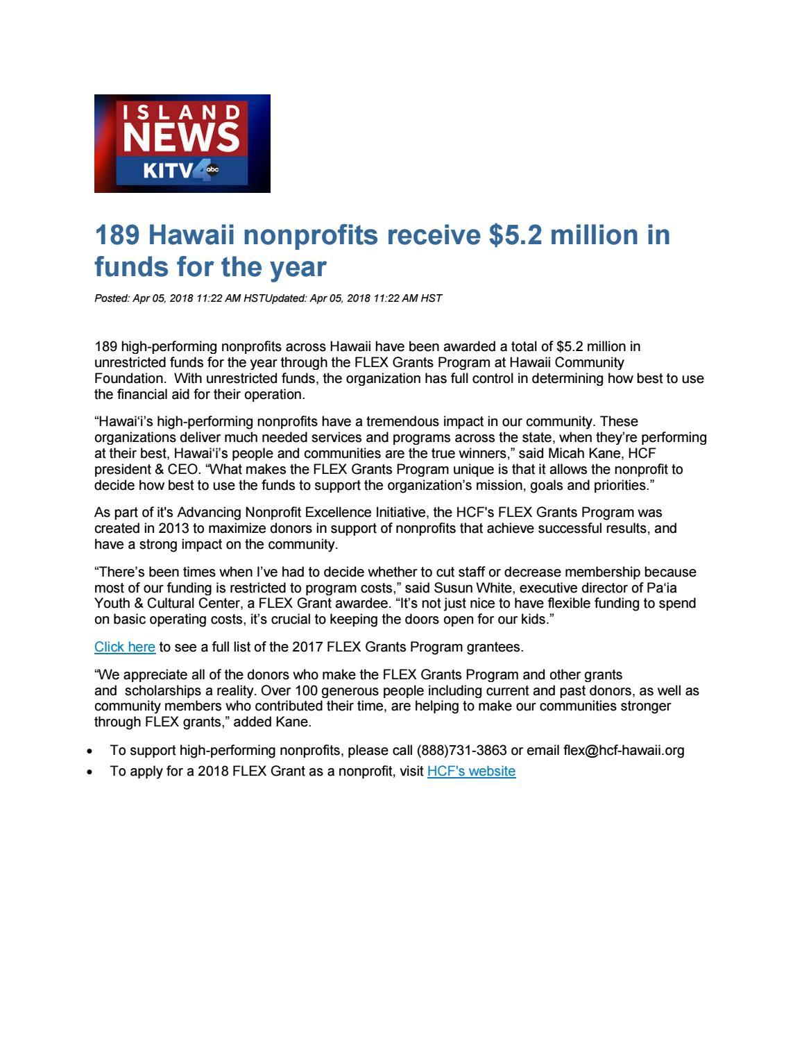 8 4 3 2018 kitv 189 hawaii nonprofits receive by Hawaii