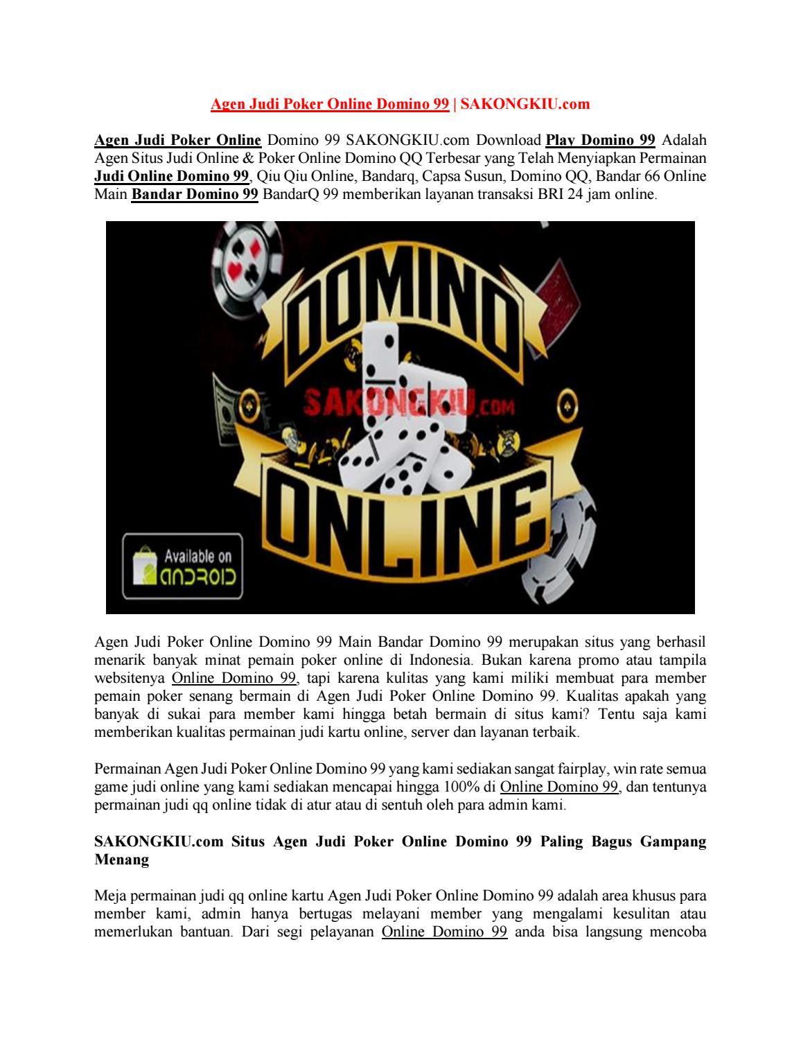 Agen Judi Poker Online Domino 99 By Jagojudi Issuu