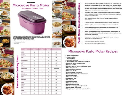 Pasta Maker Cooking Instructions