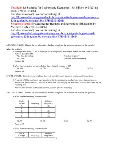 Test bank for statistics for business and economics 13th