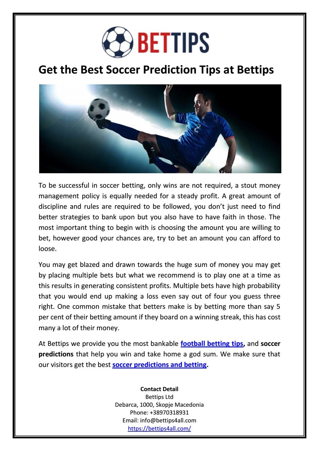 Get the best soccer prediction tips at bettips by Bettips Ltd - issuu