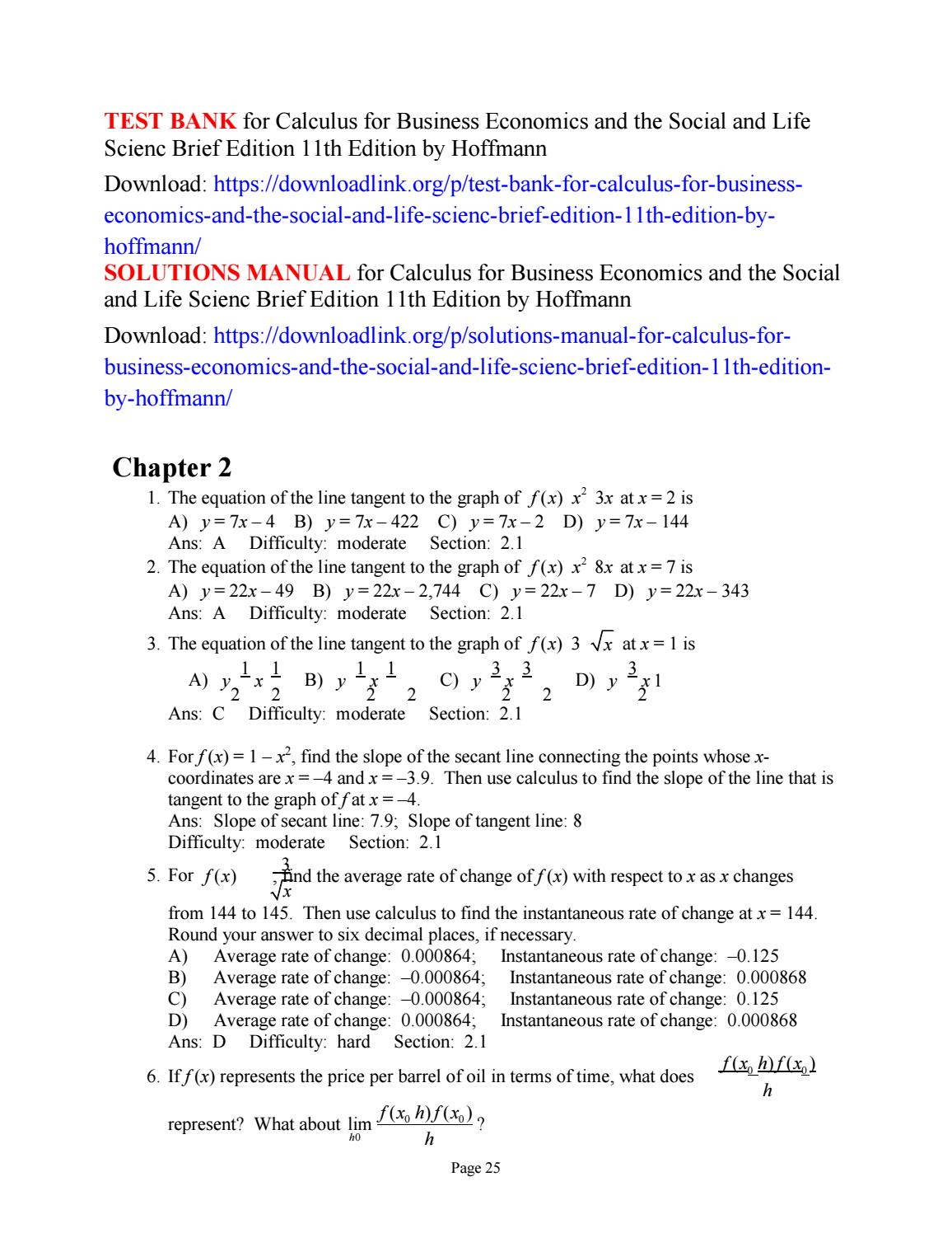 Test bank for calculus for business economics and the social and life  scienc brief edition 11th edit by intel11 - issuu