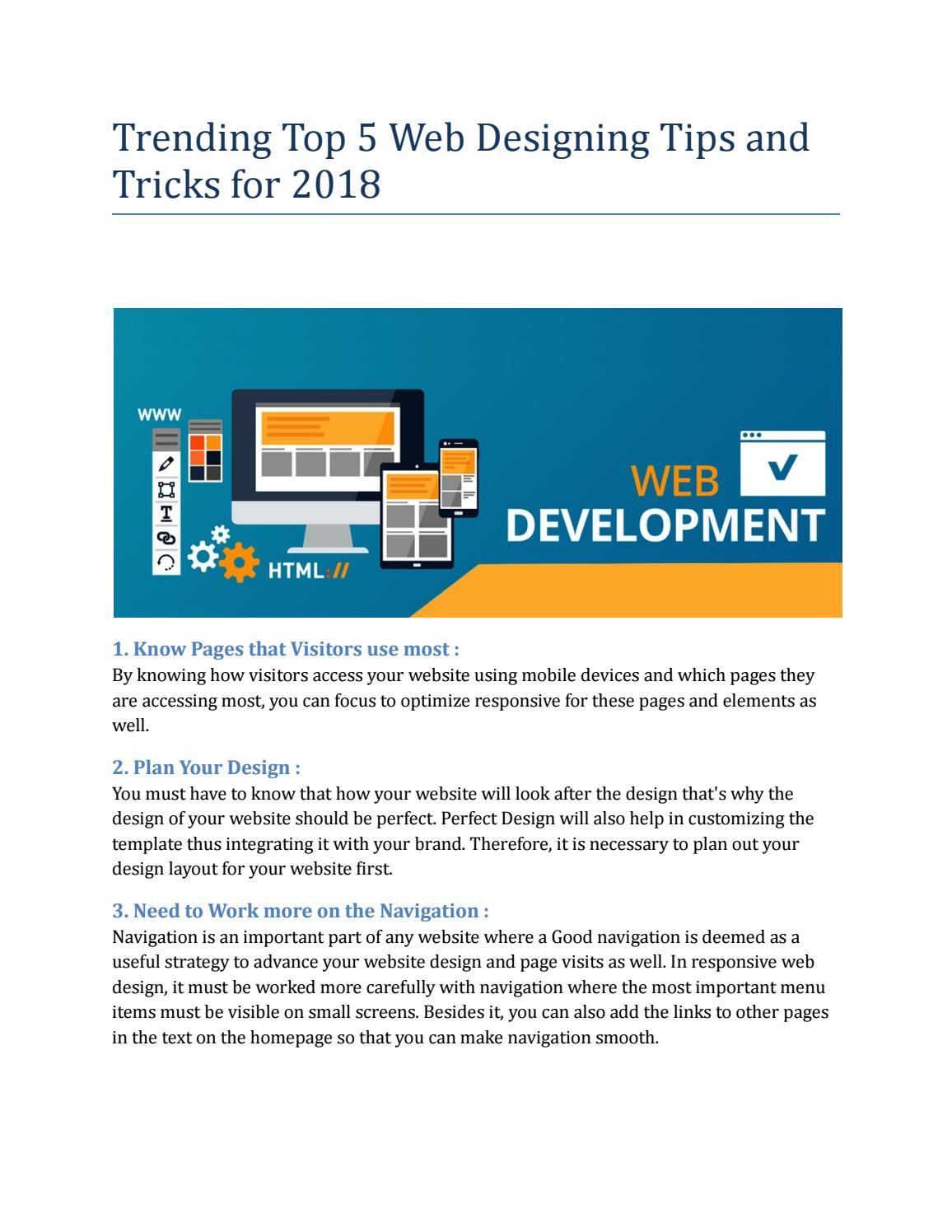 Trending Top 5 Web Designing Tips And Tricks For 2018 By Muthu Metaforum Issuu