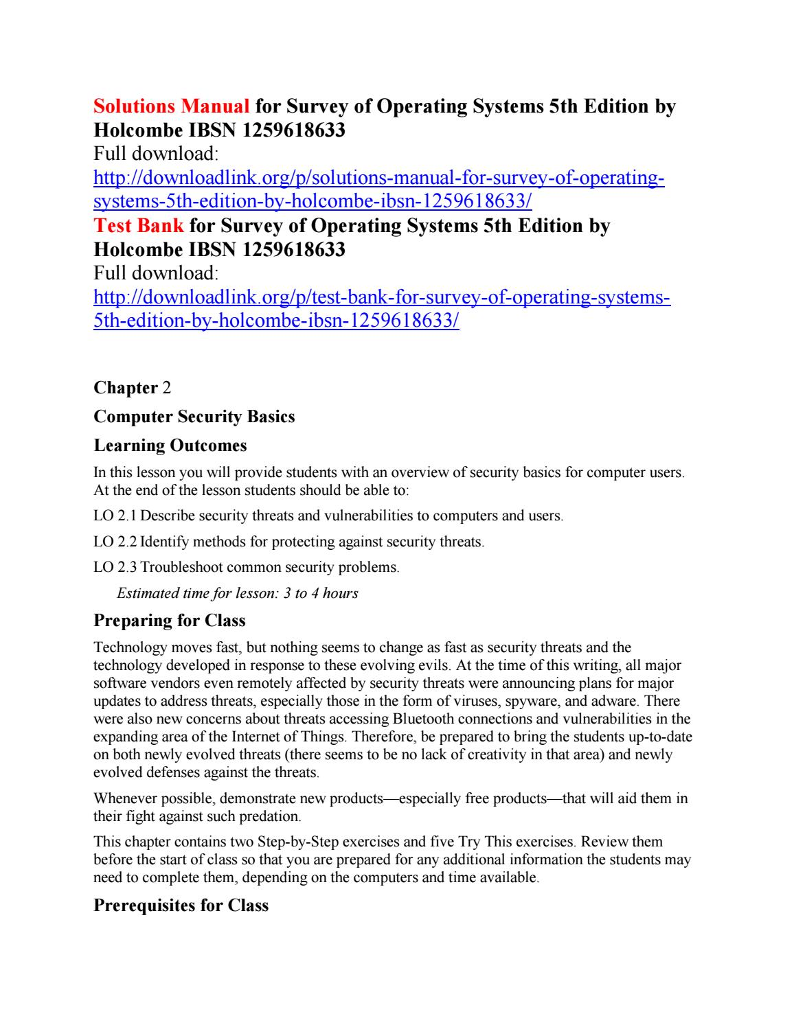 Solutions manual for survey of operating systems 5th edition by holcombe  ibsn 1259618633 by Bake111 - issuu