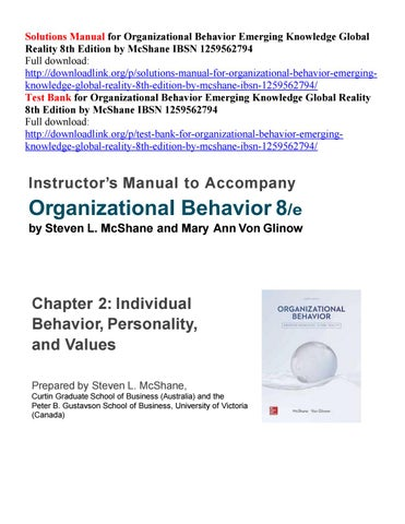 Solutions Manual For Organizational Behavior Emerging