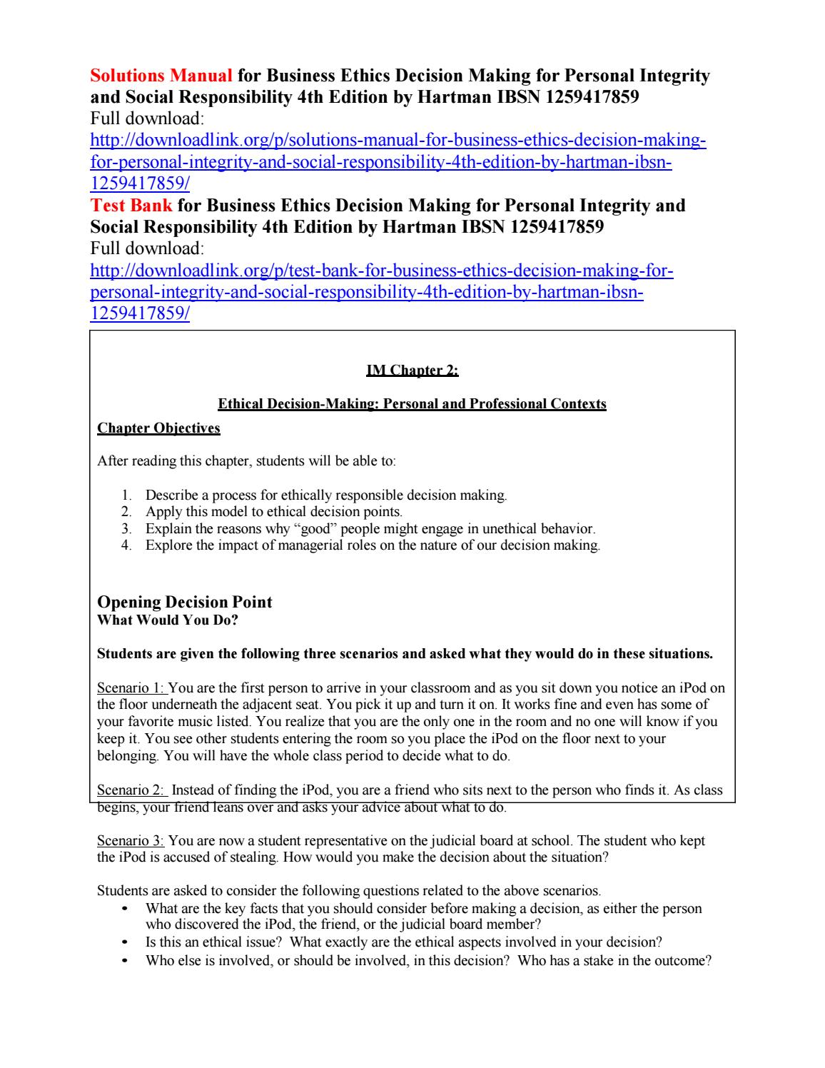 Solutions manual for business ethics decision making for