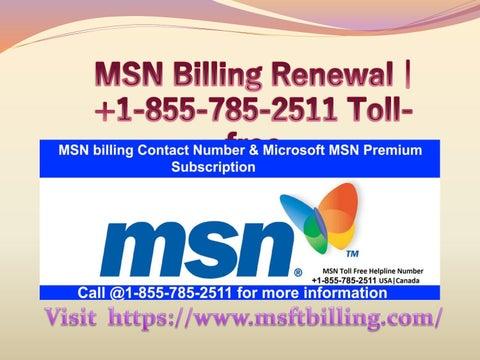 Msn billing renewal | +1-855-785-2511 Toll-free by