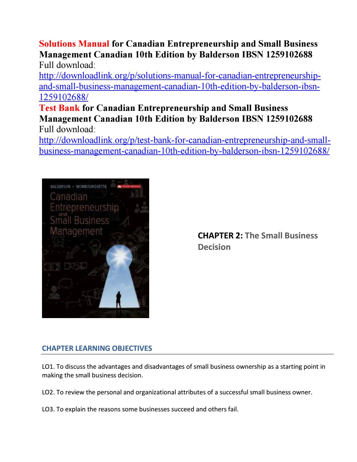 Solutions manual for canadian entrepreneurship and small