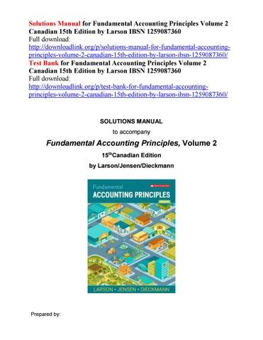 Solutions manual for fundamental accounting principles volume 2