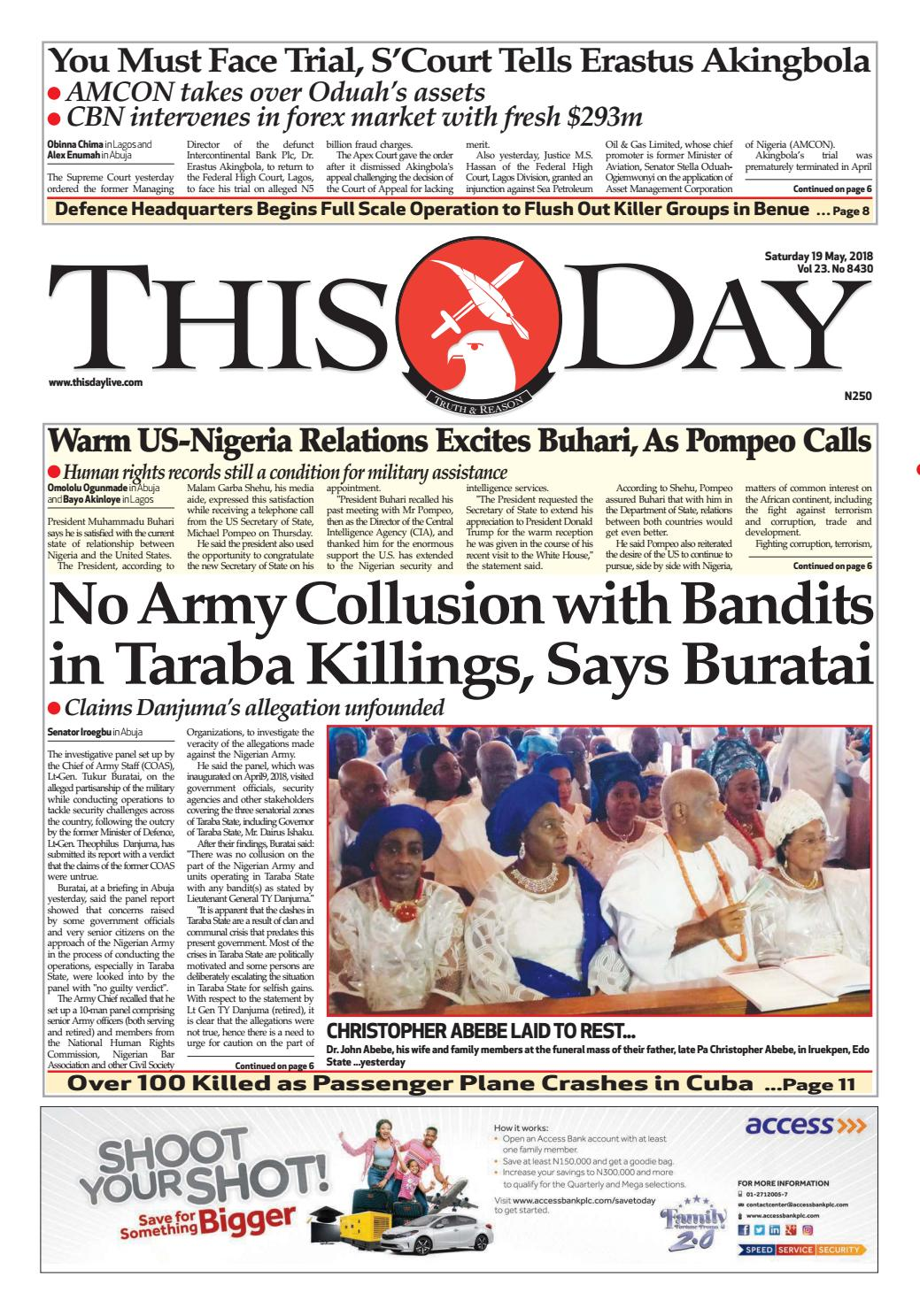 Saturday 19th May 2018 by THISDAY Newspapers Ltd - issuu