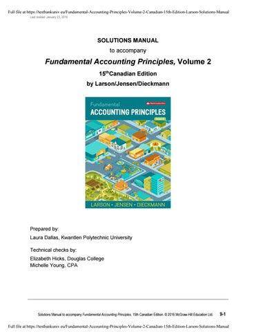 Fundamental Accounting Principles Volume 2 Canadian 15th
