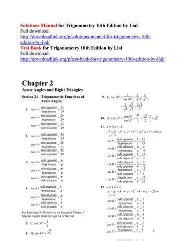 Solutions Manual For Trigonometry 10th Edition By Lial By Barnes111 Issuu
