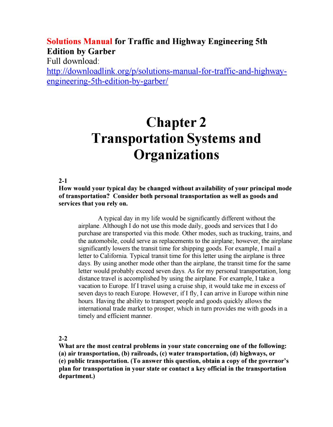 solutions manual for traffic and highway engineering 5th edition by rh  issuu com Development Plan