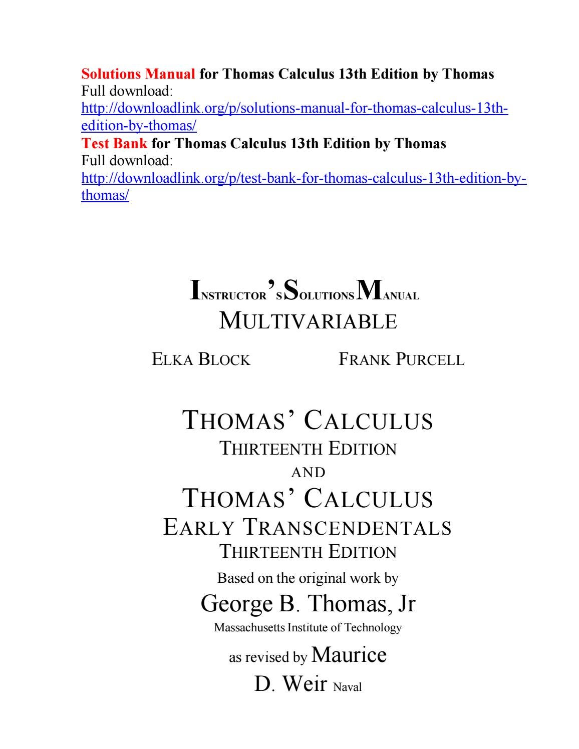 Solutions manual for thomas calculus 13th edition by thomas by Cardon41 -  issuu