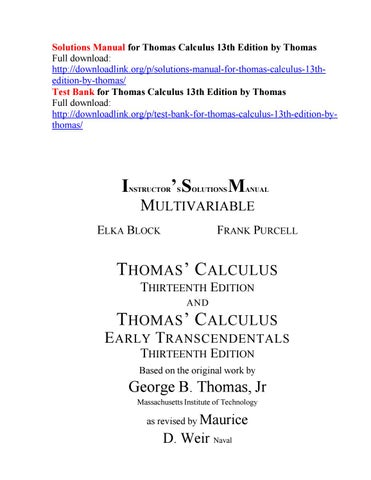 Solutions Manual For Thomas Calculus 13th Edition By Thomas