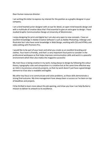 Cover letter burberry UK by Mohammed Ibraheem Khan - issuu